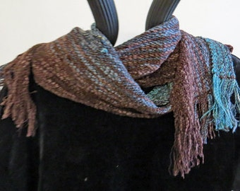 SCARF Long, Handwoven Cotton, Rayon, and Rayon Chenille. Soft, Brown,Green and Grey