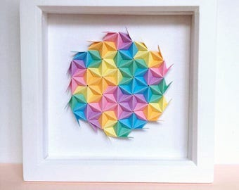 Rainbow Origami Wall Art, Colourful Modular Origami Art, 3D Origami Wall Art,  3D Paper Wall Art, Geometric Paper Art, Colourful Paper Art