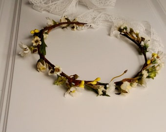 Wedding Flower crown Rustic Woodland Bridal spring hair wreath Accessories flower girl halo Fairy circlet champagne wildflower daisies