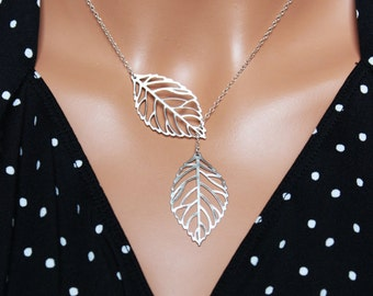 Silver Leaf Pendant, Leaf Lariat Wedding Necklace, Bridal Accessories, Everyday Jewelry, Sterling Silver Chain, Bridal, Delicate Pendants