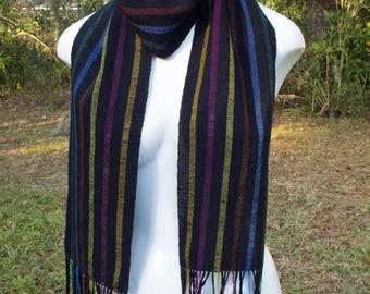 Handwoven Scarf, Black cotton with multi colored stripes in Tencel