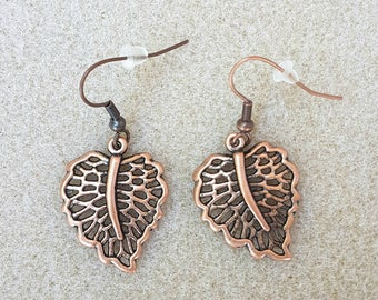 Bronze leaf earrings. Leaf jewellery. Bronze jewellery. Drop earrings. Handmade. Nature, Boho jewellery. Fae, Fairy, Hippy, Festival.
