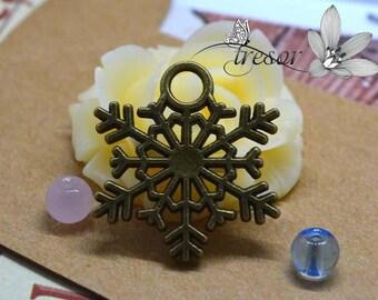 Set of 6 QZW117 pendant, bronze, snow, Christmas, winter weather