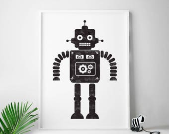 Robot print, cute robot, black and white, robot art, boys room decor, kids room decor, boys room wall art, children's room, Sci-Fi, Any Size