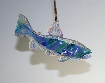 Memorial Glass Memento Trout/Salmon Ornament/Suncatcher, Cremation Ashes, Pet