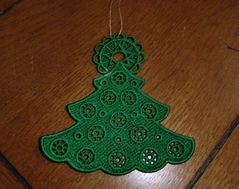 Embroidered Ornament - Christmas - Tree Green