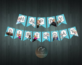 FROZEN HAPPY BIRTHDAY Banner  | Digital Item | No item will be shipped