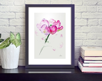 Watercolor tulip illustration, art print in pink, dark green and white by original artwork, bright pink fine art, 30x40cm (app.11.8x15.8')