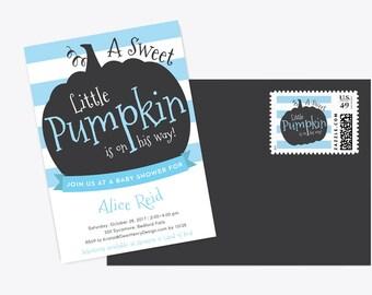 Boy Little Pumpkin Halloween Invitation – Blue Stripes – Digital Printable or Professionally Printed Invites