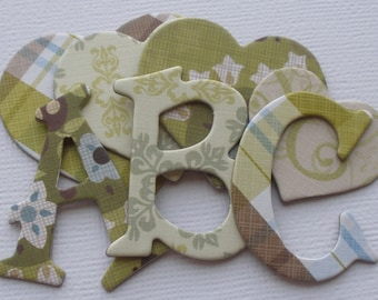 FRESH MiNT - Country Cottage -  Chipboard Alphabets with Heart and Ribbon  Die Cuts -  1.5 inch Letters