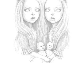 creepy twins, an A6 art print