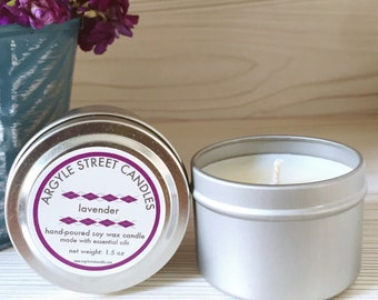 Soy Candle Essential Oil Lavender Tin Container Candle Handmade