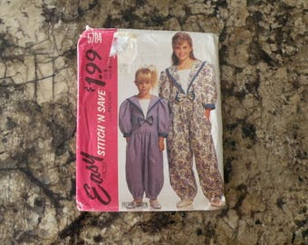 1992 UnCut McCalls Snitch N Save Pattern 5784 Child's and Girls's Jumpsuit Size 3-4-5-6