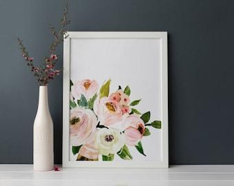 PRINTABLE Art Spring Floral Bouquet Blush Pink Nursery Decor Nursery Art Print Watercolor Blush Floral Woodland Floral Art Print