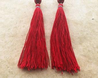 Long red tassel stud earrings / red glitter stud / tassel jewelry