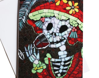 Day of the Dead birthday card, card for girlfriend, funny card, congratulations card, skeleton drinking red wine