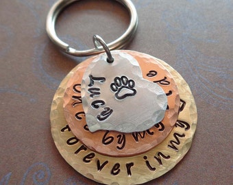 Pet Loss Memorial Keychain - Once by my side forever in my heart - Pet Loss Gift - Dog Memorial - Personalized Cat Loss Gift Handmade - P12