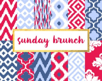 Buy 2 get 1 free with code SPRINGBREAK Sunday Brunch Ikat Version 3 Digital Paper Pack (Instant Download)
