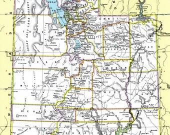 1980 - Utah Map - Antique Hammond Atlas Map - Vintage Utah Map - Old Atlas Map - Medium Vintage Map