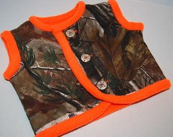 Baby boy handmade from Realtree camo vest  warm orange fleece   READY TO SHIP  size 18-24 months  boy gender reveal  camo shower gift