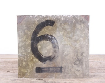 "Vintage Metal Number 6 / Old Number 6 / 8"" Score Board Number / Old Sports Sign / Vintage Number / Metal Numbers /Silver Antique Sign"