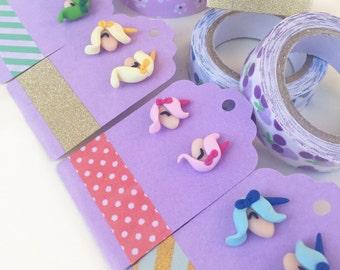 Unicorn Earrings Fimo BiBri
