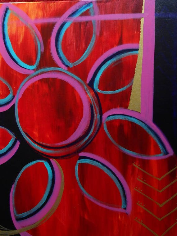 Wildfire, Abstract Acrylic Fire and Flower Painting, 24x30, unframed