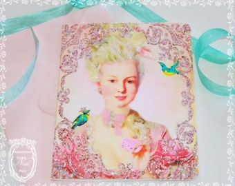 Marie Antoinette Card Let Them Eat Macarons Pink Glitter Card Set of Six with Pink Envelopes and Seals