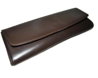 Brown Leather Clutch Bag // Vintage Long Clutch Handbag