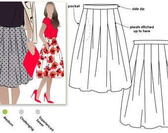Candice Skirt - Sizes 10, 12, 14 - Women's Skirt PDF Sewing Pattern by Style Arc - Sewing Project - Digital Pattern