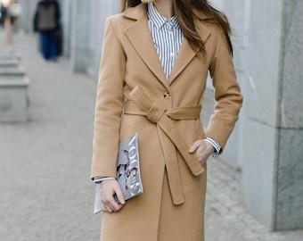 Woman camel coat / camel wool coat with notch lapels