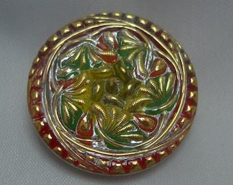 Czech Glass Button 27mm - hand painted - silver, green, yellow, orange, gold