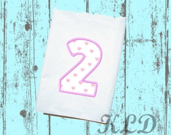 Number Two, Number 2, #2  applique embroidery design. PES. Instant Download. 4x4, 5x7, 6x10 hoop {KLD015}