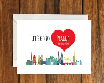 Let's Go To Prague This Valentine Blank greeting card, Holiday Card, Gift Idea A6