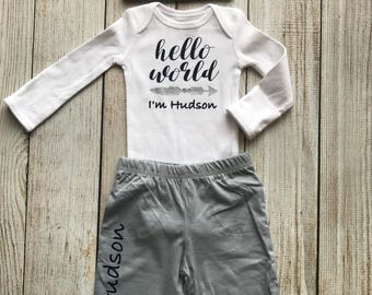 Baby Boy Coming Home Outfit - Personalized Baby Boy Outfit - Boy Hello World Outfit - Baby boy pants & hat