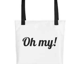 Oh my! White Tote bag With Black Yellow Red Dual Handles To Choose Made To Order
