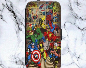 Avengers Spiderman Captain America Iron Man Hulk Marvel Comics Flip Wallet Phone Case Cover For iPhone & Samsung Model Safe Tracked Postage