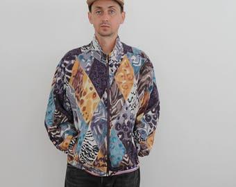Silk Abstract Animal Print Jacket Womens Medium