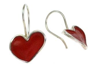 Red Heart Shaped Earrings, Dangle Heart Earrings, Red Enamel Heart Earrings, Heart Valentine Gift for her, Love Jewelry