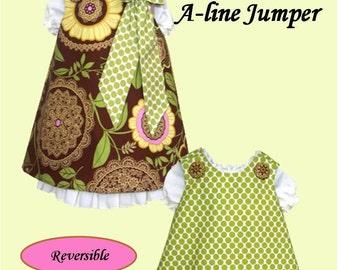 Reversible Aline Jumper Dress and Under Slip Patterns  Combo Pattern Set PDF Sewing Pattern 6M-6Child Back to School Fall