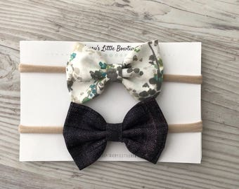 Baby girl BOWS - set of two headbands - nylon headbands - set of 2 baby gifts - newborn gift - toddler gift- puple and floral bows