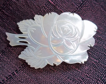 Vintage Hand-Carved Mother-of-Pearl Rose Brooch - Carved Shell Pin - White Iridescent Brooch - Floral Brooch - Flower Brooch - Pearlized Pin