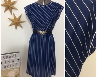 1980s 'St Michael' Navy and White Striped Disco Dress / 80s Vintage Day Dress / UK SIZE 10/12