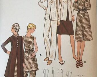"Butterick 6092, Size 38, Women's Dress, Jacket and Pants Pattern, UNCUT, Bust 42"", Lined Jacket, Tunic, Vintage, 1970's, Career Wear"