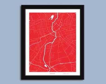 Chemnitz map, Chemnitz city map art, Chemnitz wall art poster, Chemnitz decorative map print