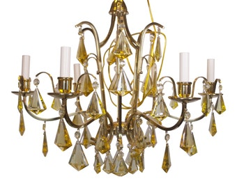 Swedish Brass Chandelier with Yellow Crystals