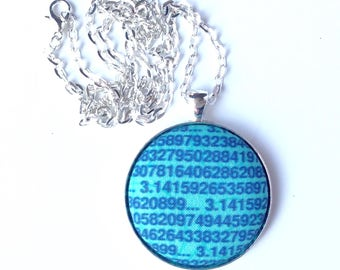 Math gift - Pi necklace - geeky jewellery - blue turquoise maths fabric necklace - geekery - nerdy gift for her - silver plated - pendant