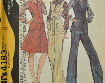 Uncut 1970s McCall's Vintage Sewing Pattern 4183, Size 16; Misses' Jumper or Vest and Pants