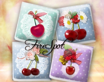Vintage Cherries - Digital Collage Sheet 1.5 inch,1 inch,25mm, 20mm  Square Printable Download for Glass Pendants,Scrapbooking,Bottlecaps