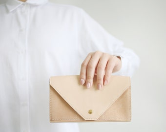 Clutch Wallet Nude /Apricot, (last one) Leather Clutch, Secretary Wallet, Big Leather Wallet